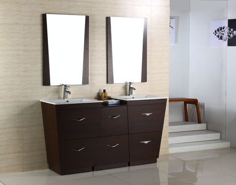 Image of American Imaginations Vee 61.5-in. W Floor Mount Wenge Vanity Set For 1 Hole Drilling AI-1220