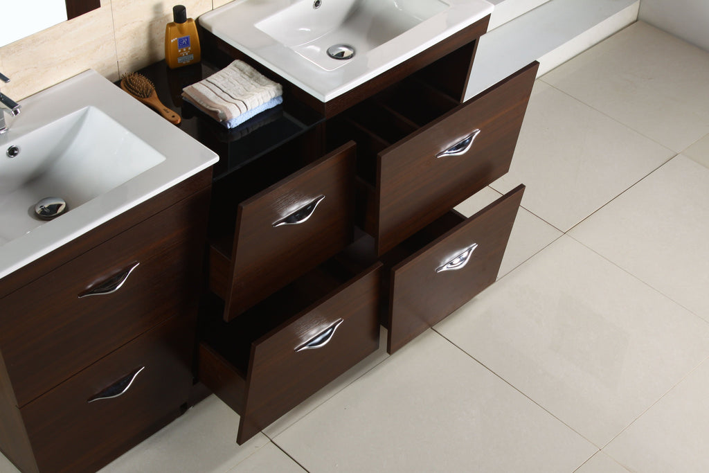 American Imaginations Vee 61.5-in. W Floor Mount Wenge Vanity Set For 1 Hole Drilling AI-1220