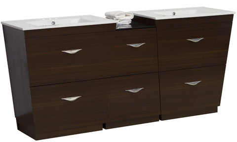 Image of American Imaginations Vee 61.5-in. W Floor Mount Wenge Vanity Set For 3H4-in. Drilling AI-1241