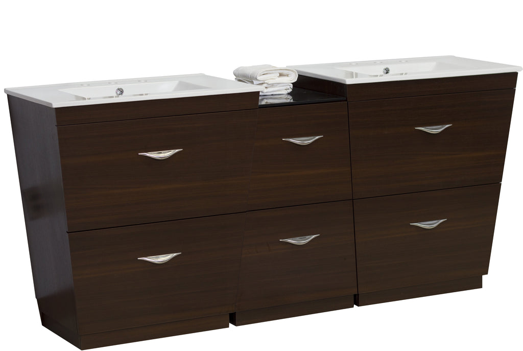 American Imaginations Vee 61.5-in. W Floor Mount Wenge Vanity Set For 3H8-in. Drilling AI-1239
