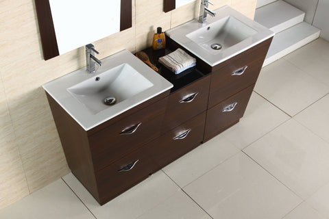 Image of American Imaginations Vee 61.5-in. W Floor Mount Wenge Vanity Set For 3H8-in. Drilling AI-1239