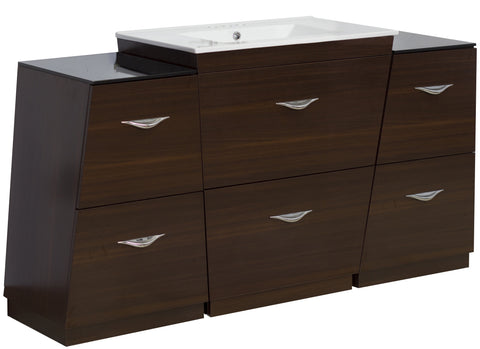 Image of American Imaginations Vee 61.75-in. W Floor Mount Wenge Vanity Set For 3H4-in. Drilling AI-1284