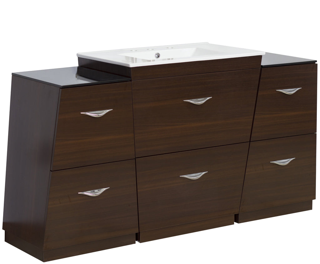American Imaginations Vee 61.75-in. W Floor Mount Wenge Vanity Set For 3H8-in. Drilling AI-1285