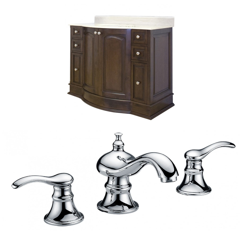 American Imaginations Villa 49.6-in. W Floor Mount Walnut Vanity Set For 3H8-in. Drilling Beige Top White UM Sink AI-8855