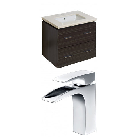 Image of American Imaginations Xena 23.25-in. W Wall Mount Dawn Grey Vanity Set For 1 Hole Drilling Beige Top Biscuit UM Sink AI-8389
