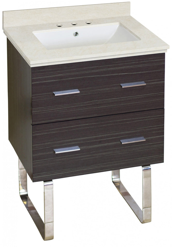 American Imaginations Xena 23.75-in. W Floor Mount Dawn Grey Vanity Set For 3H8-in. Drilling  White UM Sink AI-18576