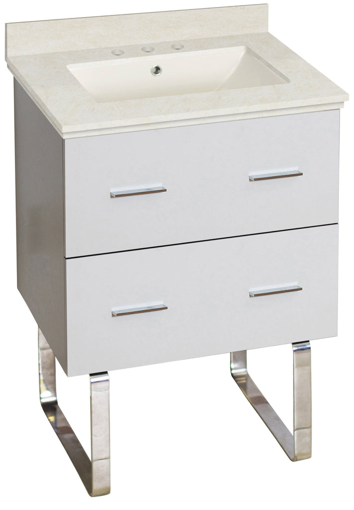 American Imaginations Xena 23.75-in. W Floor Mount White Vanity Set For 3H8-in. Drilling  Biscuit UM Sink AI-18619