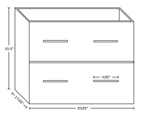 Image of American Imaginations Xena 23.75-in. W Floor Mount White Vanity Set For 3H8-in. Drilling  Biscuit UM Sink AI-18619