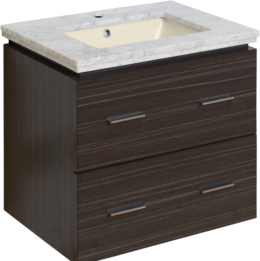 American Imaginations Xena 23.75-in. W Wall Mount Dawn Grey Vanity Set For 1 Hole Drilling Bianca Carara Top Biscuit UM Sink AI-725