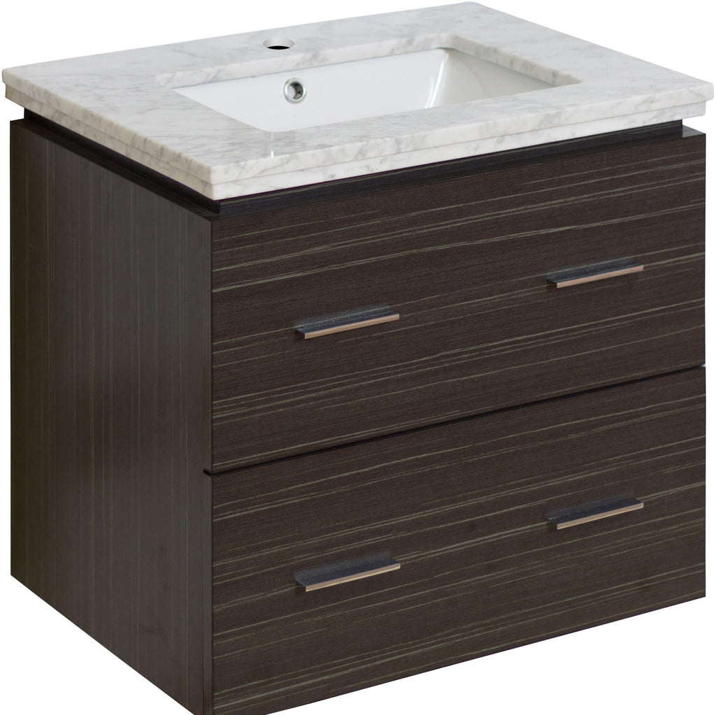 American Imaginations Xena 23.75-in. W Wall Mount Dawn Grey Vanity Set For 1 Hole Drilling Bianca Carara Top White UM Sink AI-724