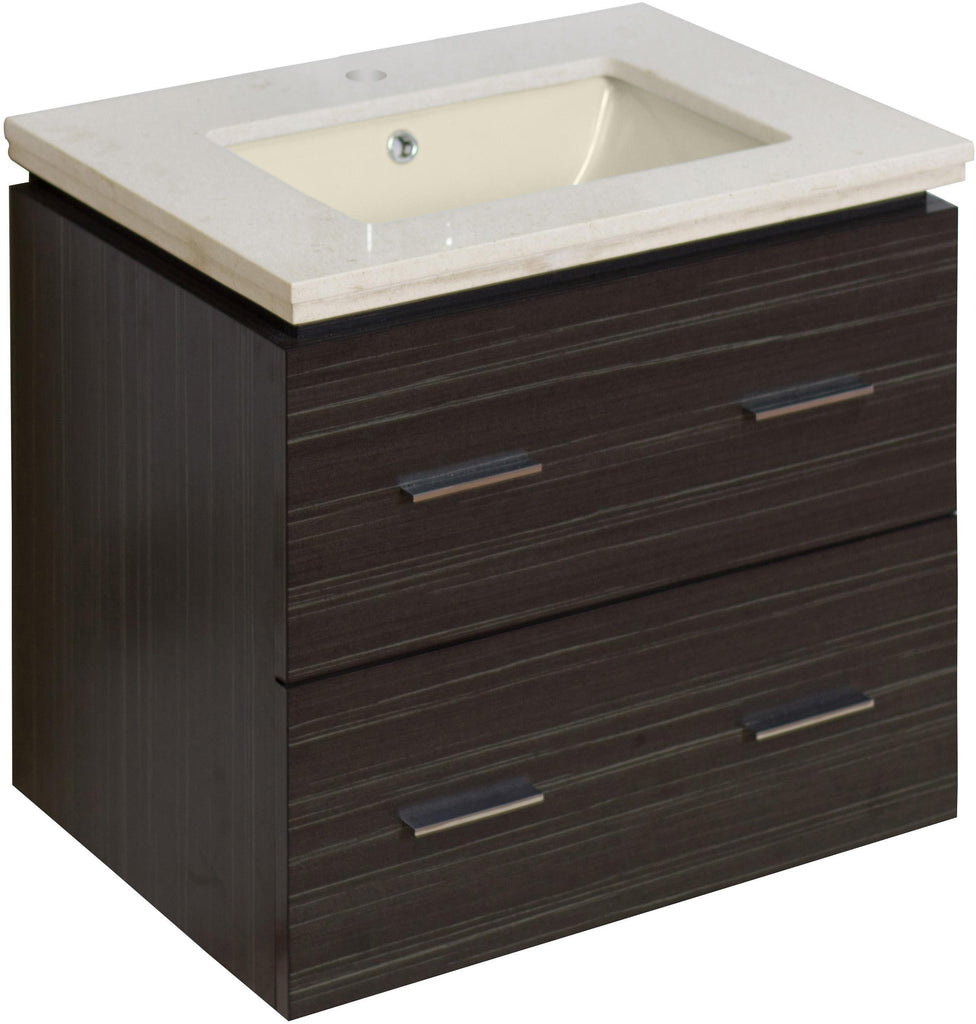 American Imaginations Xena 23.75-in. W Wall Mount Dawn Grey Vanity Set For 1 Hole Drilling  Biscuit UM Sink AI-728