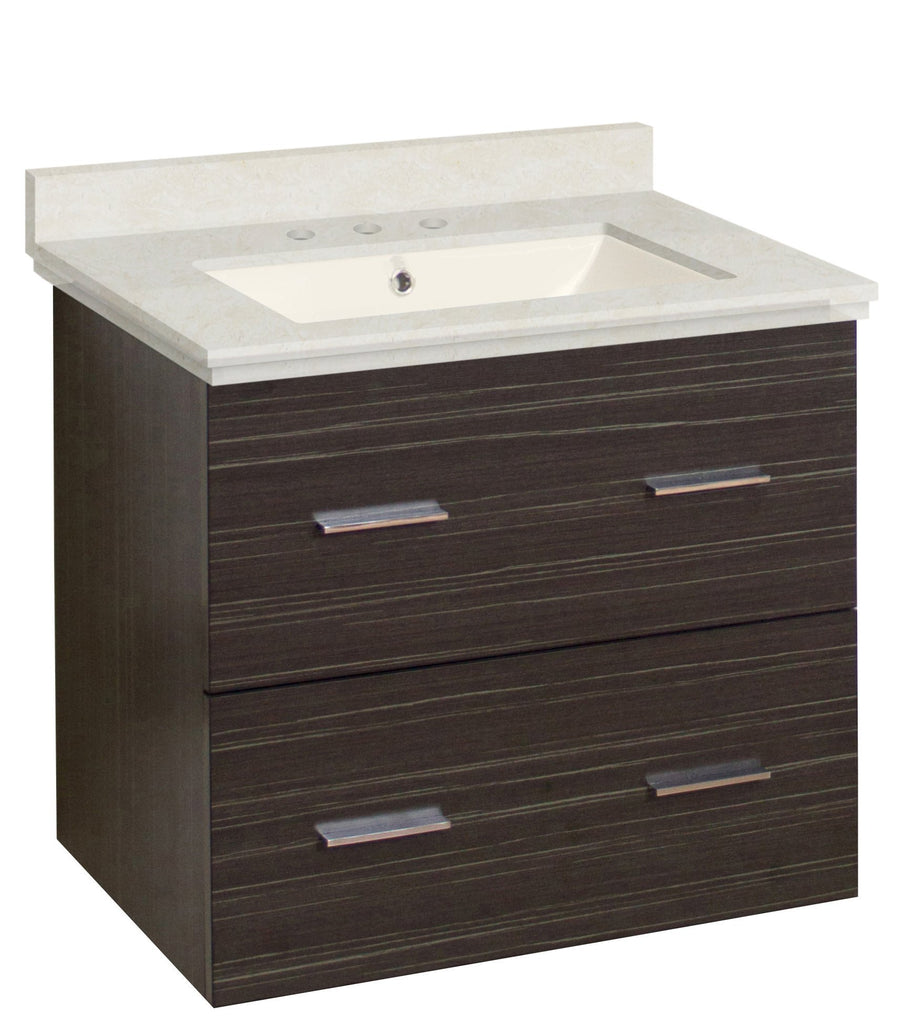 American Imaginations Xena 23.75-in. W Wall Mount Dawn Grey Vanity Set For 3H8-in. Drilling  Biscuit UM Sink AI-18557