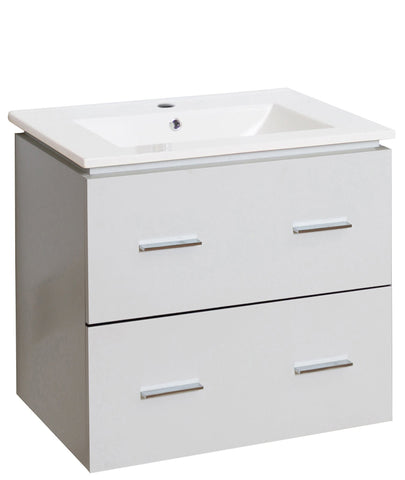 Image of American Imaginations Xena 23.75-in. W Wall Mount White Vanity Set For 1 Hole Drilling AI-18586