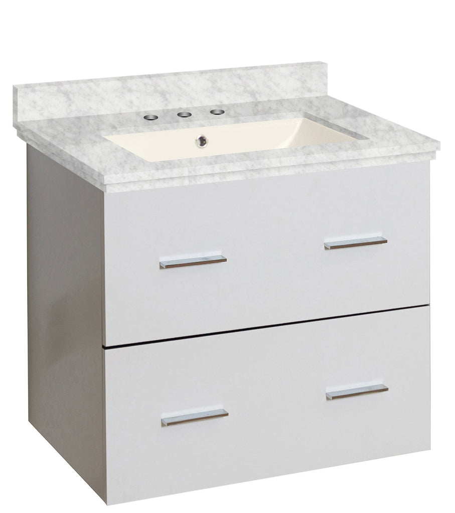 American Imaginations Xena 23.75-in. W Wall Mount White Vanity Set For 3H8-in. Drilling Bianca Carara Top Biscuit UM Sink AI-18592
