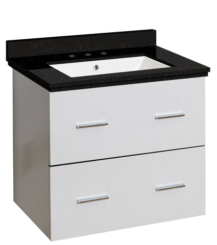 Image of American Imaginations Xena 23.75-in. W Wall Mount White Vanity Set For 3H8-in. Drilling Black Galaxy Top White UM Sink AI-18603