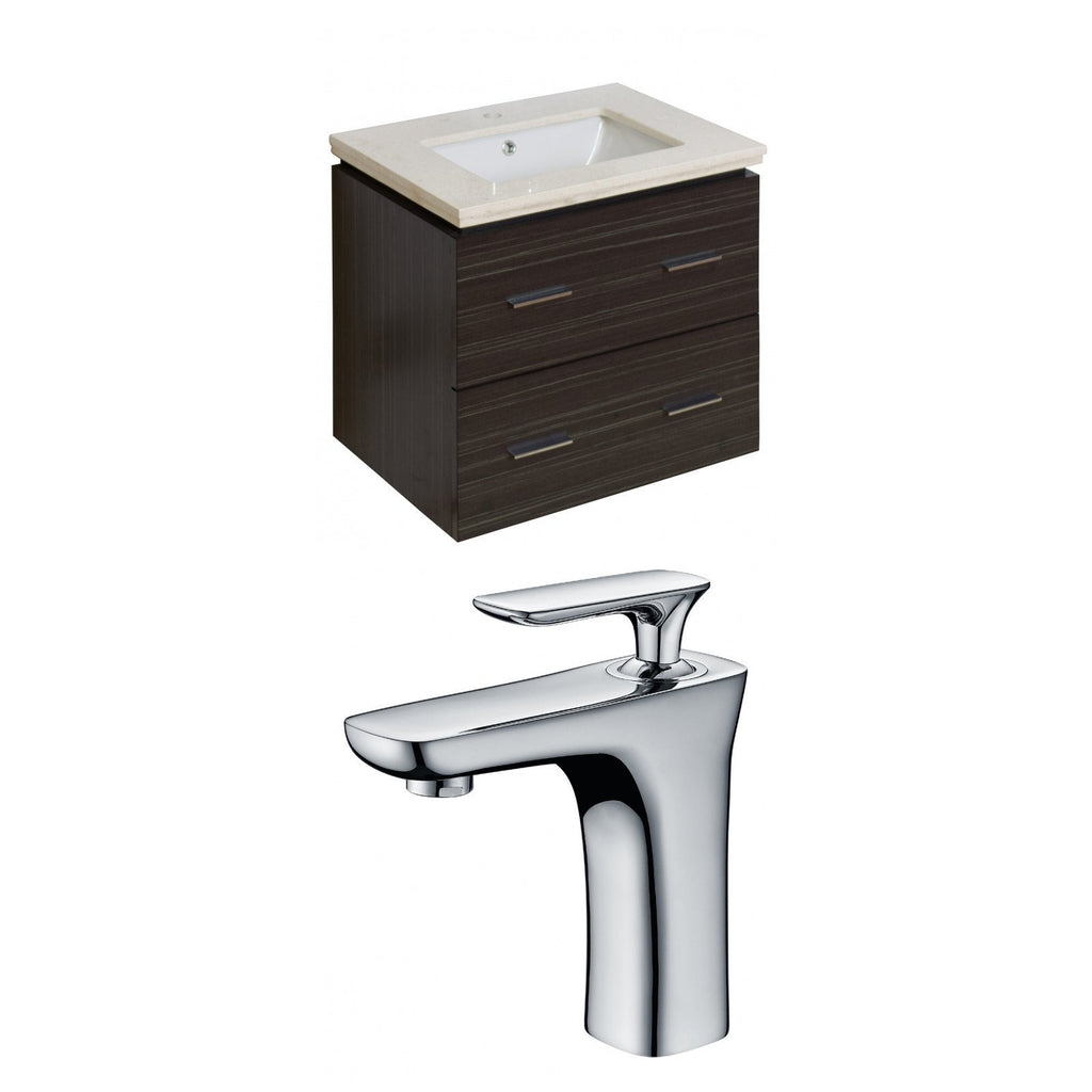 American Imaginations Xena 24-in. W Wall Mount Dawn Grey Vanity Set For 1 Hole Drilling Beige Top Biscuit UM Sink AI-8388