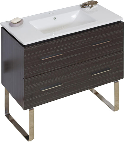 Image of American Imaginations Xena 35.5-in. W Floor Mount Dawn Grey Vanity Set For 1 Hole Drilling AI-735