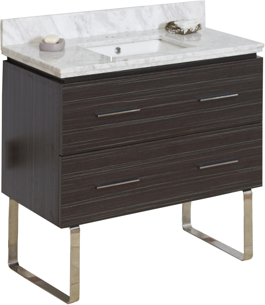 American Imaginations Xena 36-in. W Floor Mount Dawn Grey Vanity Set For 1 Hole Drilling Bianca Carara Top White UM Sink AI-736