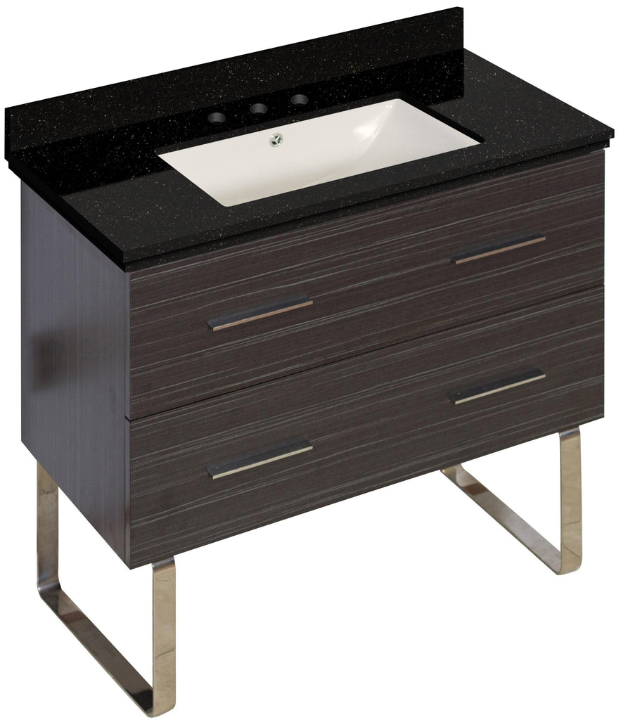 American Imaginations Xena 36-in. W Floor Mount Dawn Grey Vanity Set For 3H8-in. Drilling Black Galaxy Top Biscuit UM Sink AI-18664