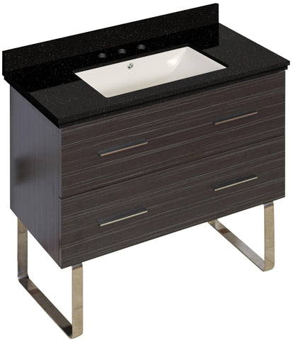 Image of American Imaginations Xena 36-in. W Floor Mount Dawn Grey Vanity Set For 3H8-in. Drilling Black Galaxy Top Biscuit UM Sink AI-18664