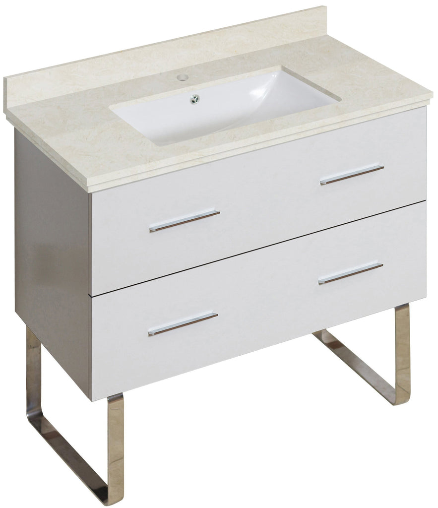 American Imaginations Xena 36-in. W Floor Mount White Vanity Set For 1 Hole Drilling Beige Top White UM Sink AI-18697