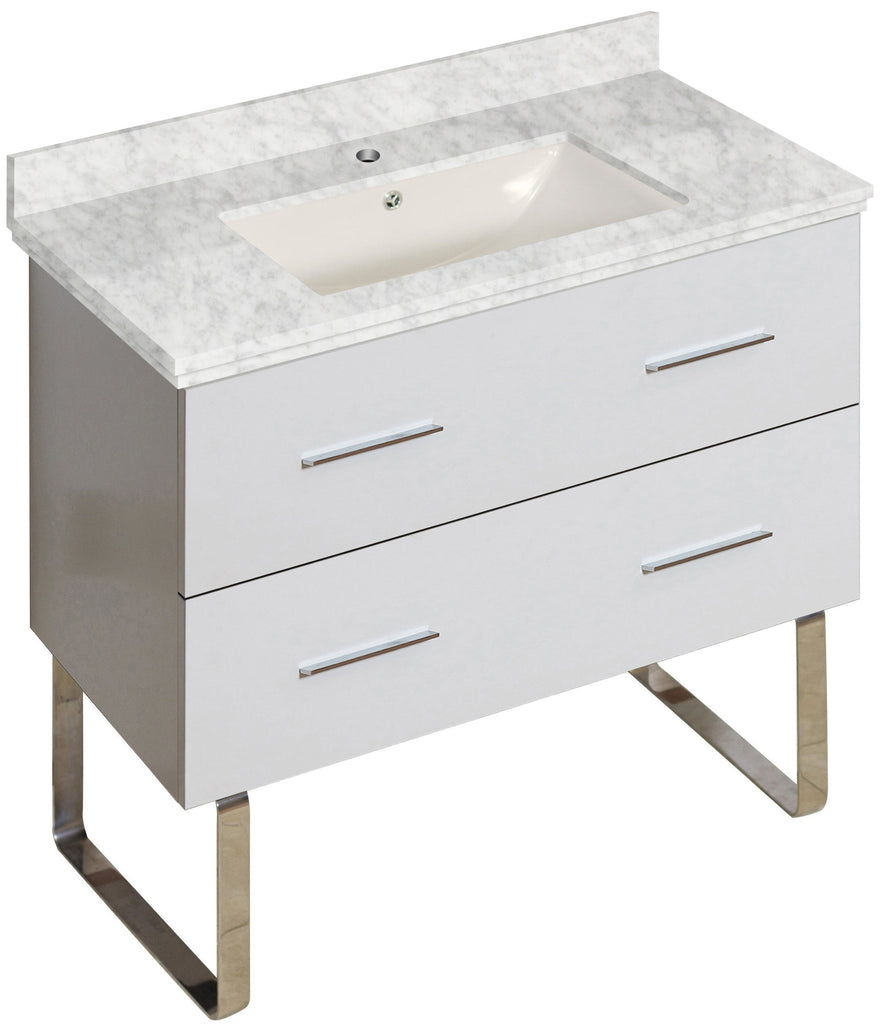 American Imaginations Xena 36-in. W Floor Mount White Vanity Set For 1 Hole Drilling Bianca Carara Top Biscuit UM Sink AI-18692