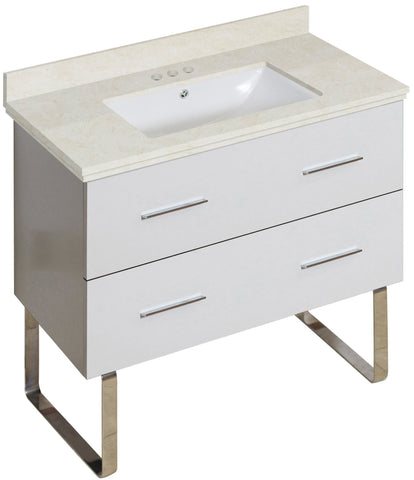 Image of American Imaginations Xena 36-in. W Floor Mount White Vanity Set For 3H4-in. Drilling Beige Top White UM Sink AI-18701