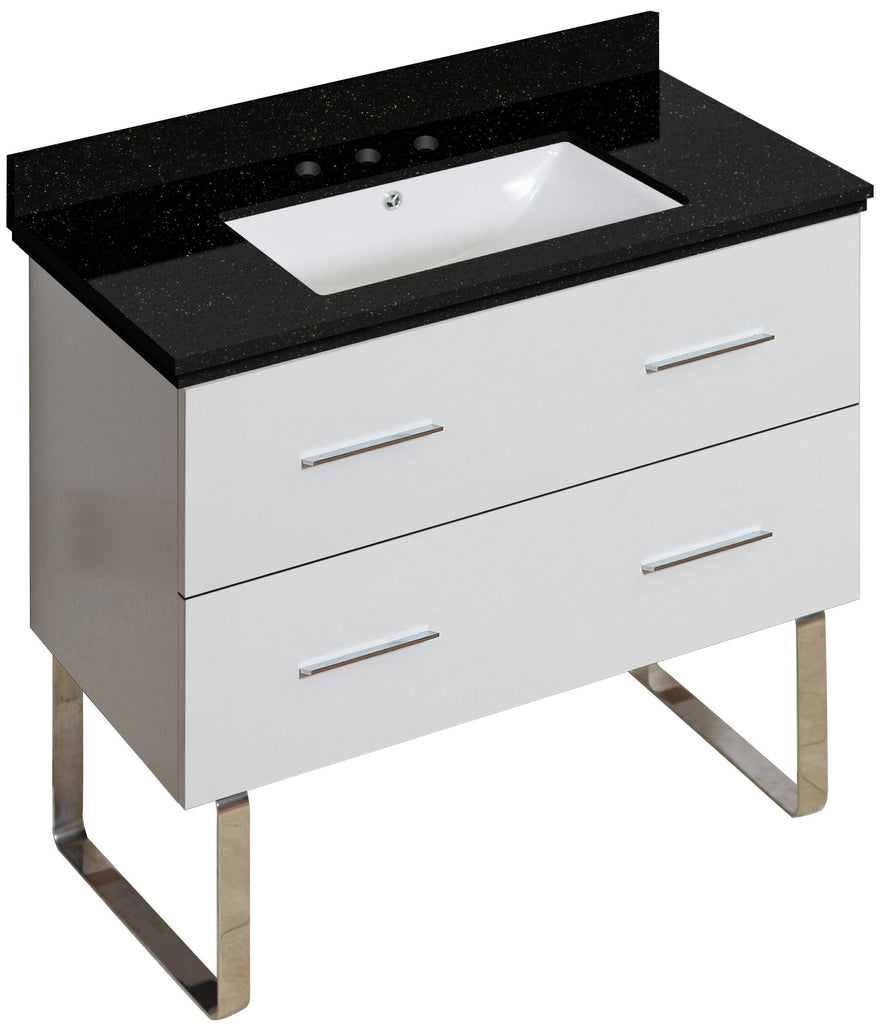 American Imaginations Xena 36-in. W Floor Mount White Vanity Set For 3H8-in. Drilling Black Galaxy Top White UM Sink AI-18705