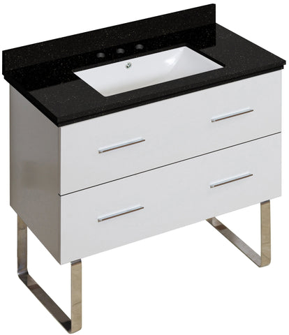 Image of American Imaginations Xena 36-in. W Floor Mount White Vanity Set For 3H8-in. Drilling Black Galaxy Top White UM Sink AI-18705