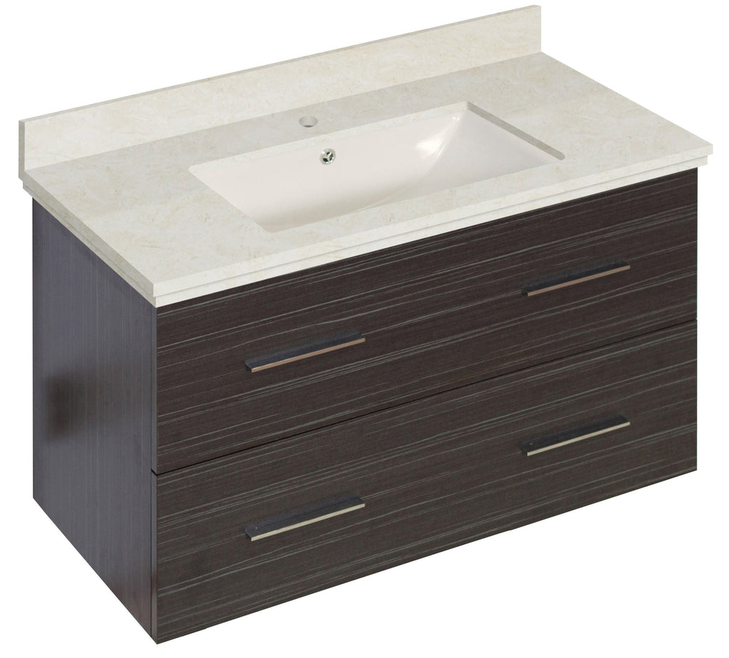 American Imaginations Xena 36-in. W Wall Mount Dawn Grey Vanity Set For 1 Hole Drilling Beige Top Biscuit UM Sink AI-18638