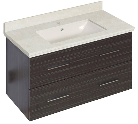 Image of American Imaginations Xena 36-in. W Wall Mount Dawn Grey Vanity Set For 1 Hole Drilling Beige Top Biscuit UM Sink AI-18638