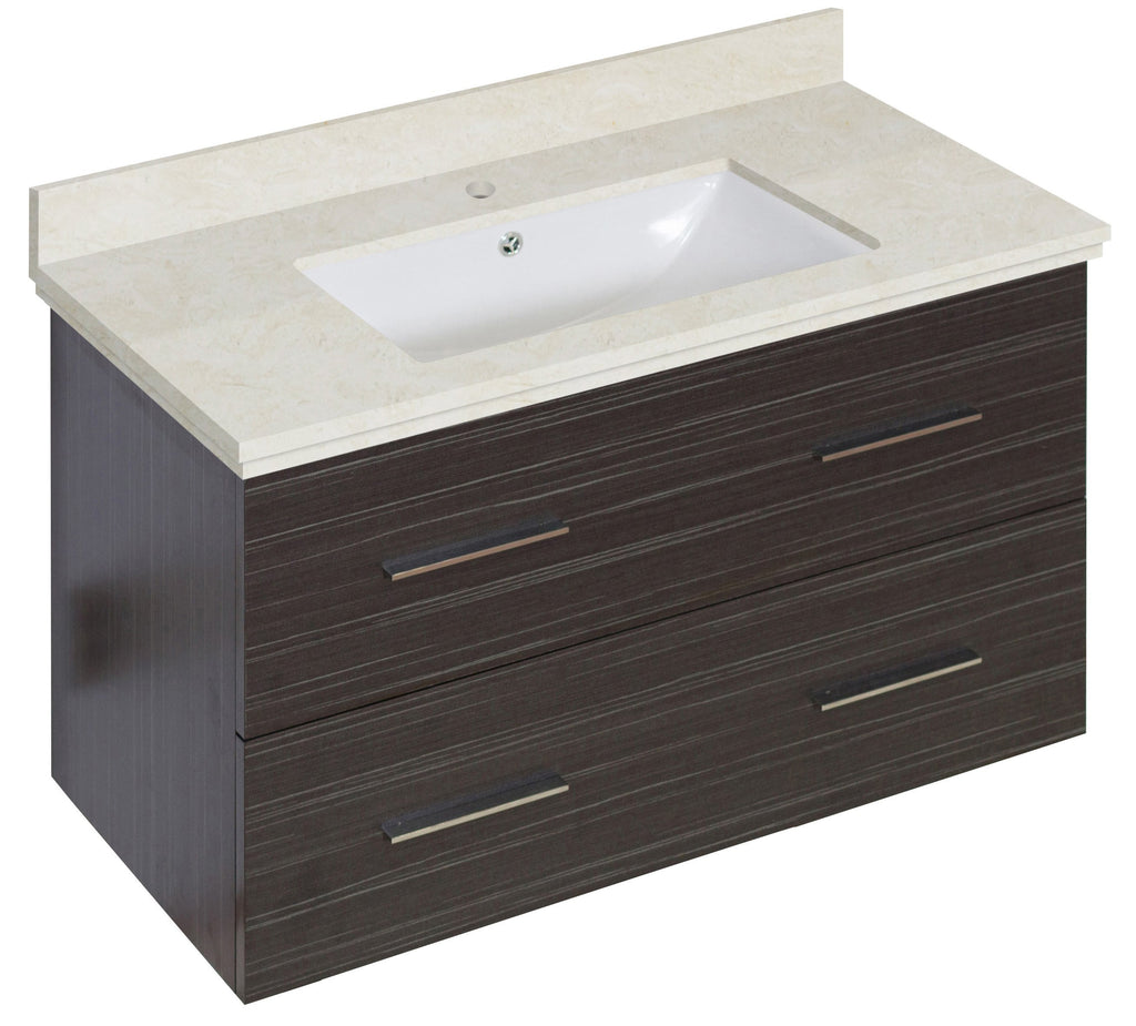 American Imaginations Xena 36-in. W Wall Mount Dawn Grey Vanity Set For 1 Hole Drilling Beige Top White UM Sink AI-18637