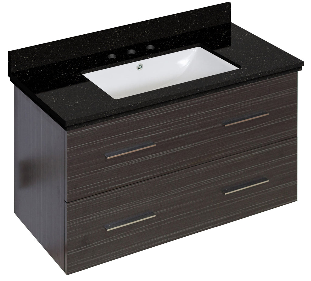 American Imaginations Xena 36-in. W Wall Mount Dawn Grey Vanity Set For 3H8-in. Drilling Black Galaxy Top White UM Sink AI-18645