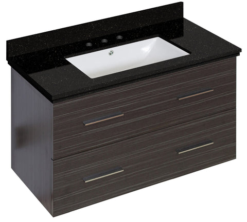 Image of American Imaginations Xena 36-in. W Wall Mount Dawn Grey Vanity Set For 3H8-in. Drilling Black Galaxy Top White UM Sink AI-18645
