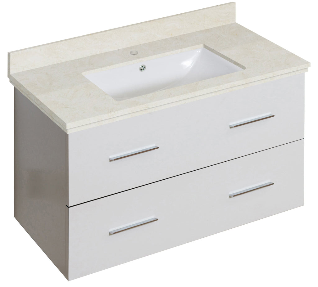 American Imaginations Xena 36-in. W Wall Mount White Vanity Set For 1 Hole Drilling Beige Top White UM Sink AI-18676
