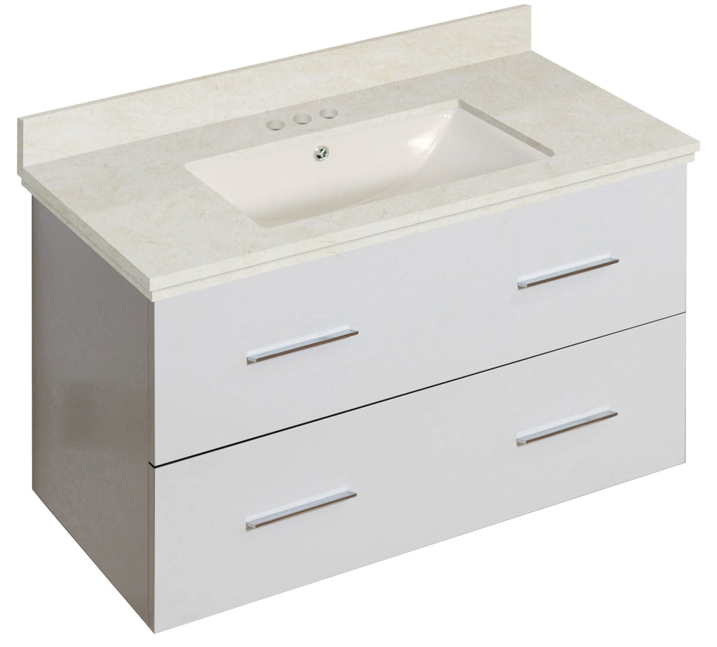 American Imaginations Xena 36-in. W Wall Mount White Vanity Set For 3H4-in. Drilling Beige Top Biscuit UM Sink AI-18681