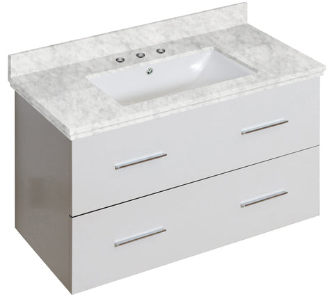 Image of American Imaginations Xena 36-in. W Wall Mount White Vanity Set For 3H8-in. Drilling Bianca Carara Top White UM Sink AI-18672