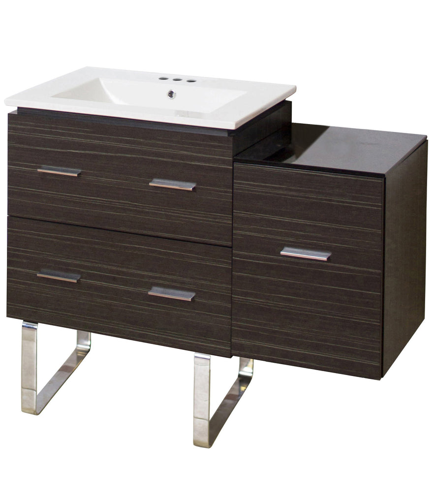 American Imaginations Xena 37.75-in. W Floor Mount Dawn Grey Vanity Set For 3H4-in. Drilling AI-18772
