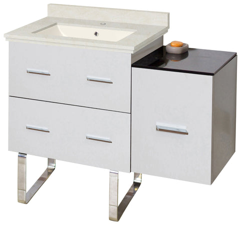 Image of American Imaginations Xena 37.75-in. W Floor Mount White Vanity Set For 1 Hole Drilling  Biscuit UM Sink AI-18864