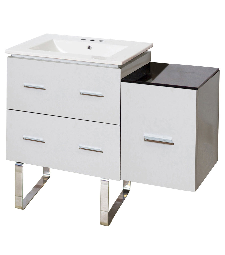 American Imaginations Xena 37.75-in. W Floor Mount White Vanity Set For 3H8-in. Drilling AI-18855