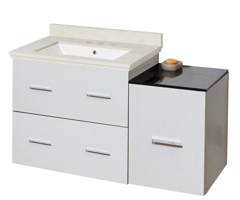 Image of American Imaginations Xena 37.75-in. W Wall Mount White Vanity Set For 3H8-in. Drilling  White UM Sink AI-18844