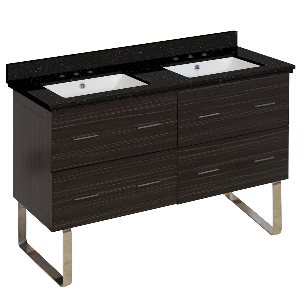American Imaginations Xena 47.5-in. W Floor Mount Dawn Grey Vanity Set For 3H8-in. Drilling Black Galaxy Top White UM Sink AI-18900