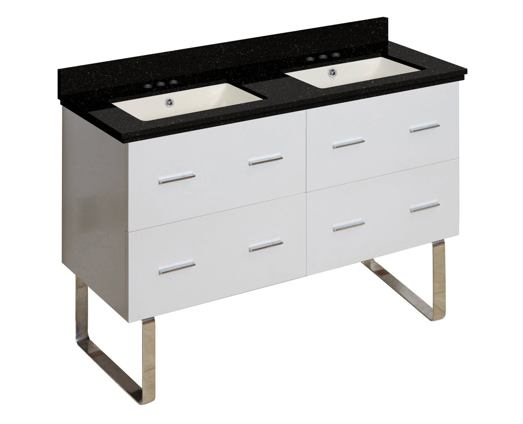 American Imaginations Xena 47.5-in. W Floor Mount White Vanity Set For 3H4-in. Drilling Black Galaxy Top Biscuit UM Sink AI-18932