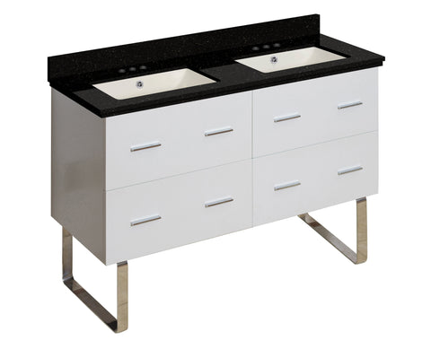 Image of American Imaginations Xena 47.5-in. W Floor Mount White Vanity Set For 3H4-in. Drilling Black Galaxy Top Biscuit UM Sink AI-18932