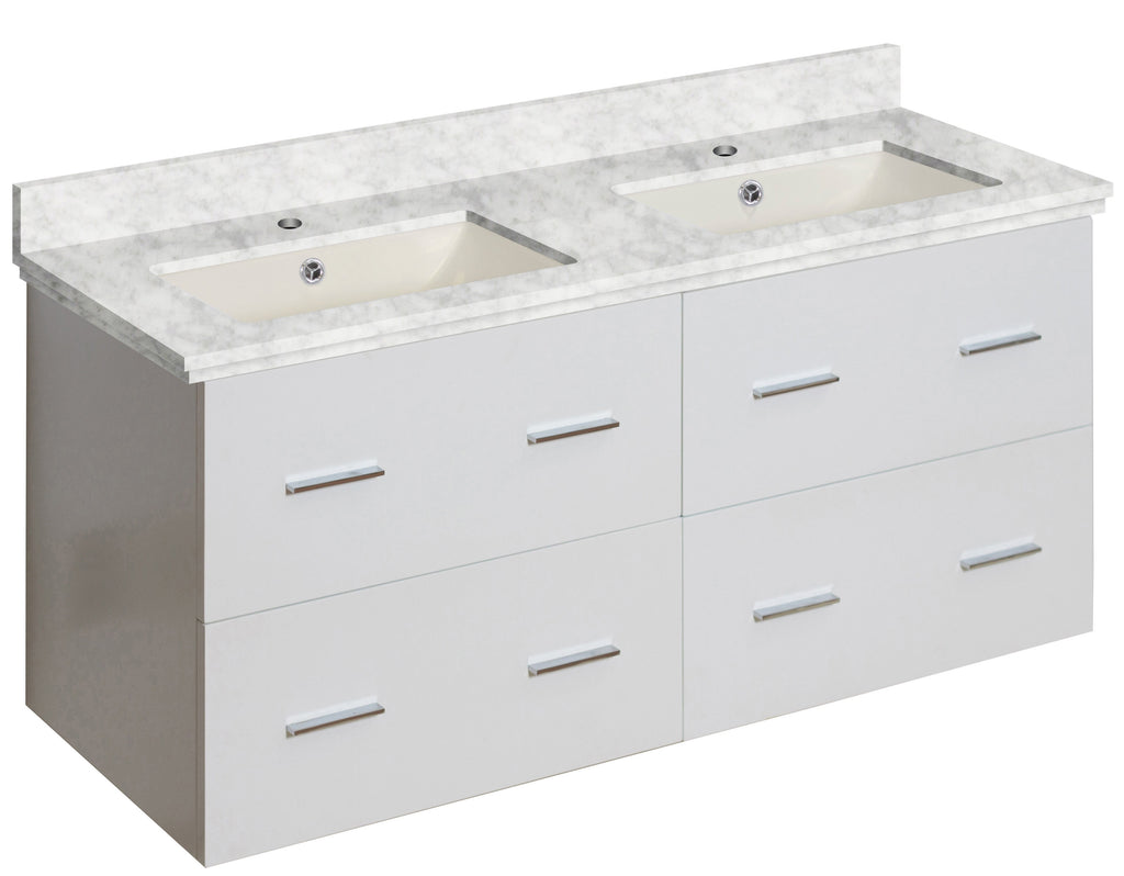 American Imaginations Xena 47.5-in. W Wall Mount White Vanity Set For 1 Hole Drilling Bianca Carara Top Biscuit UM Sink AI-18907