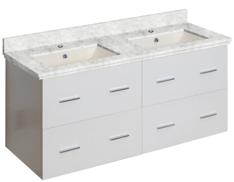 Image of American Imaginations Xena 47.5-in. W Wall Mount White Vanity Set For 1 Hole Drilling Bianca Carara Top Biscuit UM Sink AI-18907
