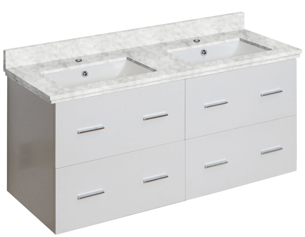 American Imaginations Xena 47.5-in. W Wall Mount White Vanity Set For 1 Hole Drilling Bianca Carara Top White UM Sink AI-18906