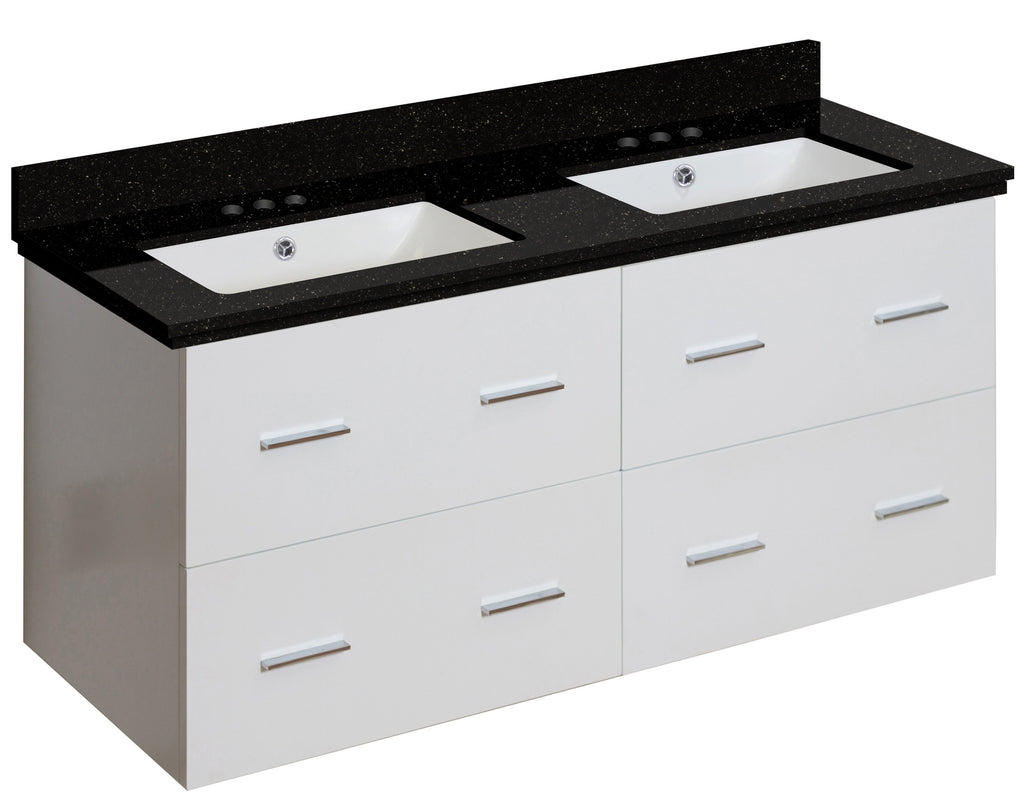 American Imaginations Xena 47.5-in. W Wall Mount White Vanity Set For 3H4-in. Drilling Black Galaxy Top White UM Sink AI-18916
