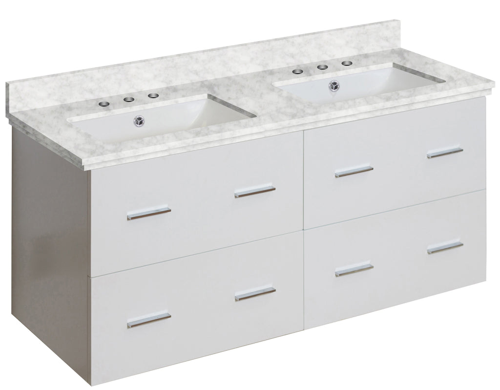 American Imaginations Xena 47.5-in. W Wall Mount White Vanity Set For 3H8-in. Drilling Bianca Carara Top White UM Sink AI-18908