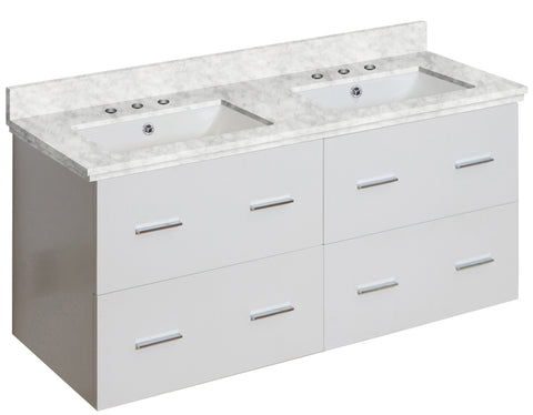 Image of American Imaginations Xena 47.5-in. W Wall Mount White Vanity Set For 3H8-in. Drilling Bianca Carara Top White UM Sink AI-18908